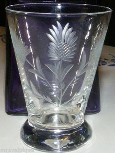 $9.99 Mini Vintage Heavy Clear Cut Thistle Pattern Shot Glass Vase Breakfast in Bed | eBay