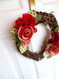 Sweetheart 14 inch Felt and Grapevine   Wreath  The by KnockKnocking, $55.00 I like the roses with leaves on this wreath.@Jessica Pardue