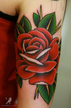 Red Rose | Tattoo  something like this with a beetle on it for my grams.