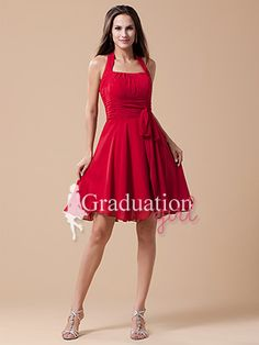 Red Chiffon Knee Length Plus Size With Straps Graduation Dress - US$ 77.99 - Style G0273 - Graduation Girl