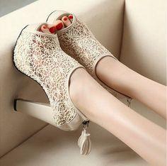 967dde8351cc62 Sexy Lace Hollow out Womens Shoes Tassel Zip High Heels Peep toe Pump Sandal  A1