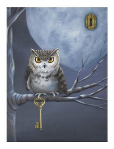 Keeper of the Heart - 8X10 Fine Art Print of an Owl Holding a Key to a Heart-Shaped  Moon