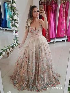 bf1244fae4e Spaghetti Strap Floral Embroidery Prom Dresses Long Formal Dress ARD1896