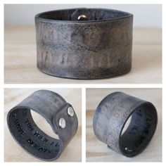 Rugged Mens Hidden Message Leather Wrist Cuff - $32.00, via Etsy.