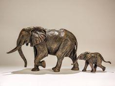 Follow Me - Elephant and Calf Bronze Sculpture by Nick Mackman