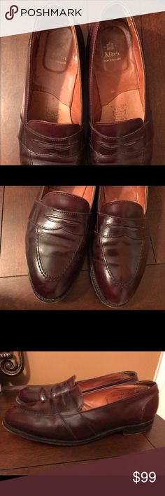 Alden of New England Full Strap Slip-On Sz 13 B/D Color: Burgundy Calfskin (683).                       Aberdeen Last Single Oak Leather Outsoles Made in Italy All Alden shoes are made on combination lasts to provide a better heel fit.  The double letter width marking, found next to the size marking, represents the heel fit width over the width of the shoe. The size/width markings found on the linings of the shoes are 13 B/D.  B (Narrow) and D (Medium). In great condition. Please see all…