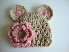 Baby Girl Crochet Hat with Ears and Flower - Light Brown and Light Pink - Etsy.