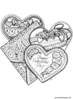 Three Valentines Coloring Page - lots of free pages at www.pheemcfaddell.com
