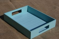 11 Light Blue Tray with Modern Print by theZstore on Etsy, $18.00