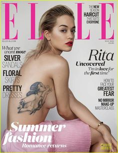 Rita Ora Shows Off Tattoo In Topless Sexy Elle Uk Cover Rita