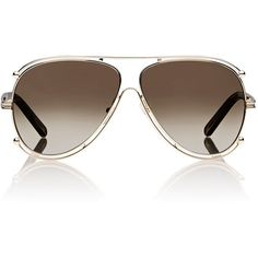 Chloé Isidora Aviator Sunglasses ($396) ❤ liked on Polyvore featuring accessories, eyewear, sunglasses, multi, glasses aviator, clear glasses, chloe sunglasses, aviator glasses and clear eyewear