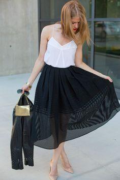 Tibi midi skirt of striped sheer organza is the stunner of this ensemble.