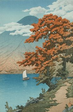Lake Chūzenji Kawase Hasui (Japan, 1883-1957) Japan, 1930 Prints; woodcuts Color woodblock print Image: 14 5/8 x 9 3/4 in. (37.1 x 24.8 cm); Paper: 16 9/16 x 11 3/16 (42.1 x 28.4 cm) Gift of Mr. and Mrs. Felix Juda (M.73.37.89) Japanese Art Mont Fuji, Japanese Prints, Japanese Art, Nikko, Japanese Painting, Woodblock Print, Shin, Chinese Art, Lovers Art