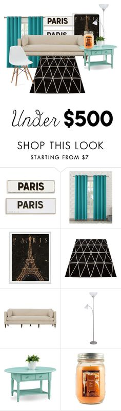 """""""#under500livingroom"""" by akrusen06 ❤ liked on Polyvore featuring interior, interiors, interior design, home, home decor, interior decorating, Rosanna, Sun Zero, WALL and Leick"""