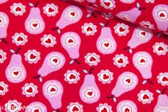 Stoff Blumen - Love Pears Jolijou Birnen rot rosa - ein Designerstück von Staghorn bei DaWanda