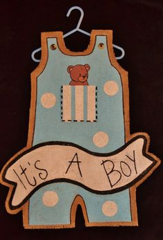 Burlap Door Hanger - It's a Boy. $25.00, via Etsy.