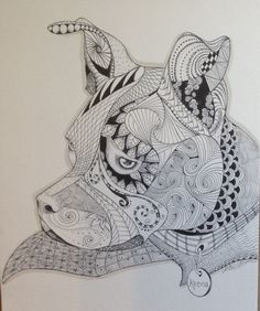 Zentangle Inspired Custom Pet Portrait Black by TwistedArtDesigns