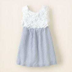 Seersucker rosette dress for little girls from The Children's Place. Perfection.