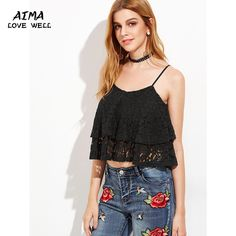2017 New Fashion Women Lace Chiffon Blouse Summer Sexy Off Shoulder Sleeveless Tops High Quality Solid Color Womens Tank Tops #Affiliate