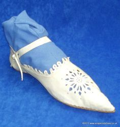 These shoes will be worn by Juliet with her dress. They are the kind of shoes that would have been worn during this time, but they are very elegant.