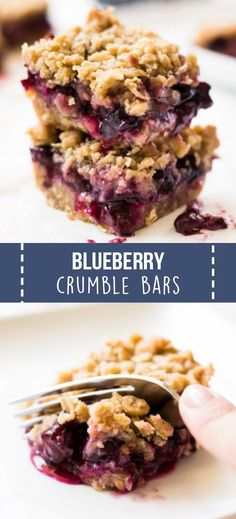 Blueberry crumble bars are made with juicy blueberries and a butter crumble topping. It's a delicious summer dessert! #blueberry #bars #dessert #summer #recipe #dessertrecipe
