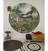 The new Wallpaper circle Mighty Jungle by Hartendief is one of the new collection 2017 designs. This watercolor and pencil illustration paints an exciting background with an original circular wallpaper. You can almost hear the tigers roar!  The diameter of this wallpaper circle is 190 centimeter. Wallpaper Mighty Jungle costs €109,95 each. #mightyjungle #jungleroom #kidsroom #barnerom #kinderzimmer #jungle #rainforest #tigers #elephant #kids #childrendesign #nursery #nurseryinspo…