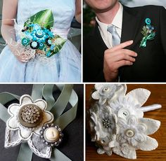 Handmade Button and Felt Bouquets and Boutonnieres in GreenWeddingShoes.com