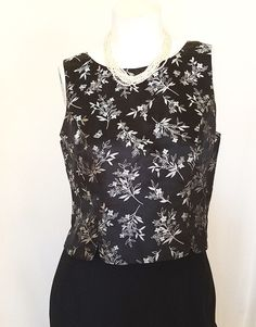 Lilly Pulitzer Top 6 Cropped Silk Blend Black Silver Floral Sleeveless Lined #LillyPulitzer #CropTop #EveningOccasion