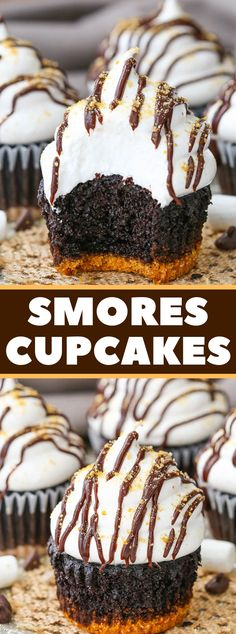 These Smores Cupcakes are the jam! A super moist chocolate cupcake with a graham cracker crust, topped with a super light and airy marshmallow frosting! Gourmet Cupcakes, Brownie Cupcakes, Cheesecake Cupcakes, Cupcake Flavors, Chocolate Cupcakes, Mini Cupcakes, Mug Cakes, Cupcake Cakes, Cupcake Frosting