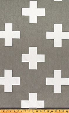 Swiss Cross Fabric in Grey/white