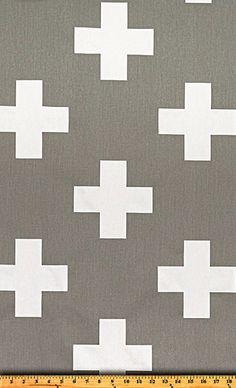 Swiss Cross Fabric in Grey/white