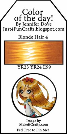 Just4FunCrafts and DoveArt Studios: Color of the Day 150 Blonde hair 4.