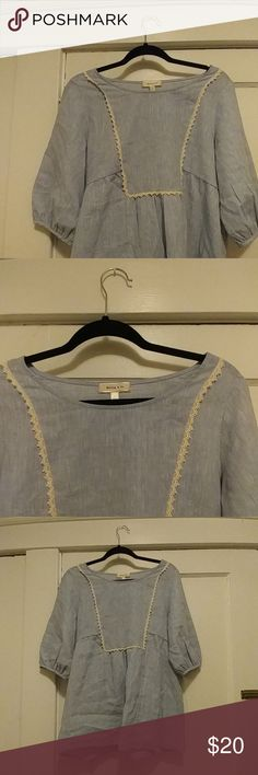 Pastel Blue Blouse Gorgeous blouse. Size M. I'm so in love with it but its just a little too big on me! Needs a good home. Similar styles sold at boutiques like Roolee & Piper & Scoot. A little longer than your average blouse so can be worn as a tunic too! Only worn once for a few hours. Hailey & Co. Tops Blouses