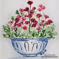 Tricia Kennedy: Art Impressions WC Containers, Watering Can (flowers), and Foliage 2 New sets; watercolor with Marvy Markers Watercolor Cards, Watercolor Flowers, Watercolor Paintings, Watercolours, Flowers In Vase Painting, Art Impressions Stamps, Christian Cards, Craft Fairs, Painted Rocks