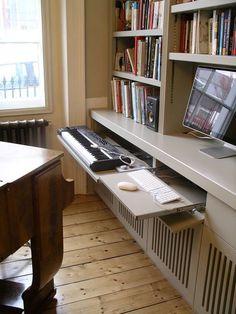 custom built music room bookcase and equipment storage cabinets by Peter Henderson Furniture, Brighton, UK Hidden Desk, Built In Desk, Built In Shelves, Built Ins, Music Desk, Piano Desk, Piano Room, Desk In Living Room, Living Room Bedroom