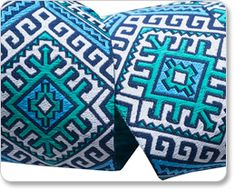"""1-1/2"""" Blue & White Camel Blanket - Hapi by Amy Butler picture"""