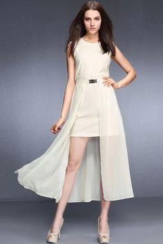 LUCLUC Apricot High Low Two Piece Dress