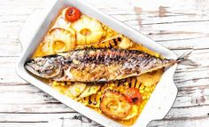 Buy Delicious whole baked fish with pineapple by Nikolaydonetsk on PhotoDune. Roasted fish with pineapple and mango in pan Roast Fish, How To Grow Taller, Baked Fish, Pineapple, Lose Weight, Dinner, Ethnic Recipes, Food, Dietas Detox