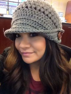 Crochet hat, the brim , do half way or a bit more and bend one side and add button by ViolaBlackRaven