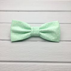 Mint Green Bow tie, White Polka Dot Bow Tie, Mens Bow Tie, Mint Wedding Bow Tie, Baby boy Children Bow tie, Bowtie for Groom & Groomsmen by GloiberryBowtie on Etsy https://www.etsy.com/uk/listing/536087771/mint-green-bow-tie-white-polka-dot-bow