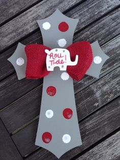 """16"""" Alabama Crimson Tide Inspired Hand Painted Wooden Cross by SassyLaneDesigns on Etsy https://www.etsy.com/listing/163252046/16-alabama-crimson-tide-inspired-hand"""