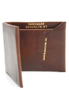 A sweet wallet for those who want something simple.  A single folded piece of leather handcraft into a wallet by Brooklyn based Alter