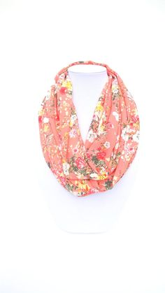 Peach Infinity Scarf Floral Scarf Gift For by FashionelleStudio