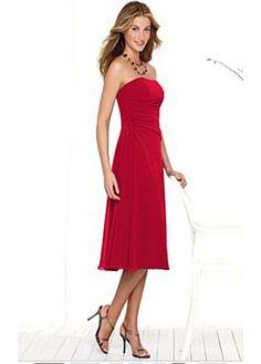 Simply Strapless No Waistline Tea-length A-line Red Tone Beach Bridesmaid Dresses