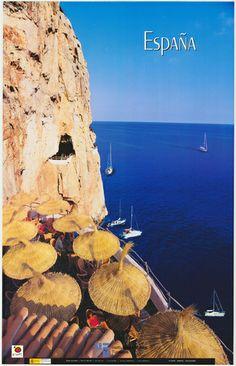Menorca, Baleares en un cartel de turismo de #Spain del año 2001 via #Viajology