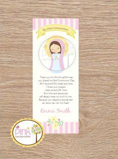 First Communion Favor Cards/  Bookmark / Baptism Girl / Recuerdo de Primera Comunion Niña de PinkCajasyTarjetas en Etsy https://www.etsy.com/es/listing/221656522/first-communion-favor-cards-bookmark