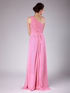 One Shoulder Pleated Dress; Color: Rapture Rose; Sizes Available: 2-26W, Custom Size; Fabric: Chiffon