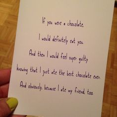 If you were a chocolate, I'd eat you, then feel guilty. Funny card. Blank. Birthday. Anniversary. Wedding. Valentines day. Friend on Etsy, $3.75 Odd Compliments, Youre My Person, Funny Cards, Valentines Day, Anniversary, Eat, Chocolate, Feelings, Birthday