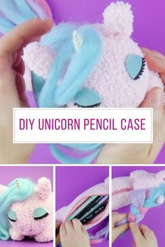 This sleepy unicorn pencil case is adorable! Thanks for sharing! Pencil Case Tutorial, Pencil Case Pattern, Unicorn Pencil Case, Cute Pencil Case, Unicorn Drawing, Diy Arts And Crafts, Diy Craft Projects, Sewing Projects, Leather Pencil Case