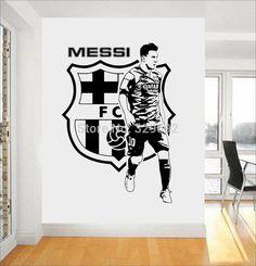 football team logo Wall Art Sticker Messi vinyl wall sticker removable house decor Football Star decal
